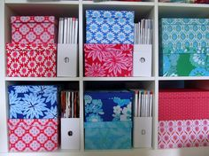 Fabric covered boxes! #storage, #ikea, #expedit