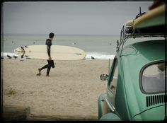 VW Bug, Beach and Surfboard nuff said... #chillin #beach #surf #surfing #car #vwbug #volkswagen  #sun #sea #sand #rjsthisandthat