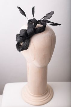 Sinamay feathers fascinator black fascinator by BeChicAccessories Facinator Hats, Sinamay Hats, Black Fascinator, Fascinators, Turbans, Bridesmaid Headpiece, African Hats, Mad Hatter Hats, Barrette