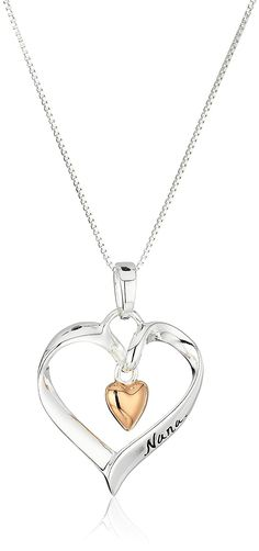 Two-Tone Sterling Silver and Rose-Gold Flashed 'Nana You Are Loved' Heart Pendant Necklace, 18-Inches * Click image for more details. (This is an Amazon Affiliate link and I receive a commission for the sales)