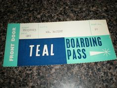 TEAL boarding pass Airline Logo, Airline Tickets, Air New Zealand, Boarding Pass, Teal, Names, The Originals, Christmas Ideas, Empire