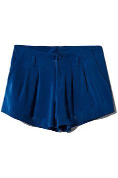 Blue Pleated Shorts #Romwe