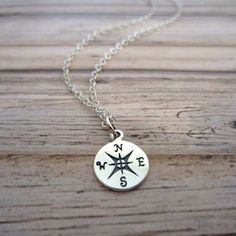 .925 Sterling Silver Round Compass Pendant Necklace