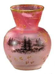 Daum Nancy~A miniature~Cameo~Glass vase~Acid etched with floral motifs~Heightened in gold with a lakeside scene~Circa 1900