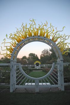 The Chihuly gates in the Gladney Rose Garden.