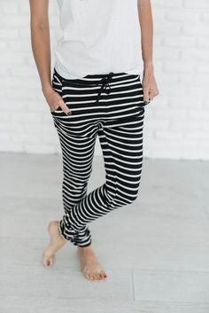 Available Sizes : Length(cm) : Waist(cm) : Hip(cm) : Type : Slim Material : Cotton Pattern : Striped Length Style : Long Decoration : Drawstring Color : Black Looks Style, Style Me, Casual Outfits, Cute Outfits, Sleepwear & Loungewear, Long Pants, Mode Style, Dress To Impress, Lounge Wear