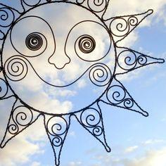 Drátované slunce-závěs