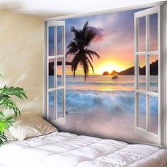 Beach Style Removable Washable Printed Tapestry