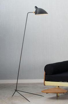 Serge Mouille; Enameled Metal and Brass Floor Lamp, 1953.