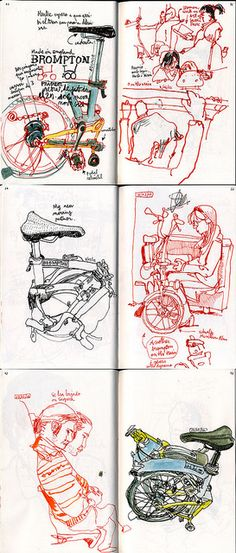 Drawing with my Brompton on the Train by Swasky, via Flickr