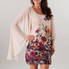 Batwing Border Print Dress
