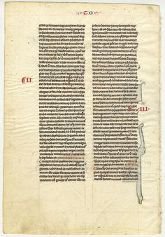 Verso of leaf from the Book of Tobit. Leaf from c. 1240 vellum manuscript. Example of a 'pocket Bible' produced in Paris.  #miamioh #manuscripts