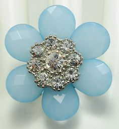 Vintage Blue Flower Ring/Rhinestone/Gift For by victoriascharms