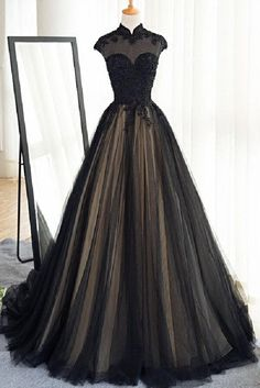 Black tulle cap sleeves floor-length long prom dresses,luxury dresses