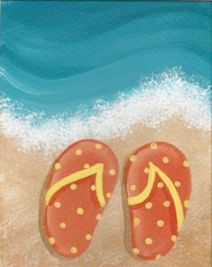 Polkadot Flip Flops - Great painting for Flip Flop theme or Beach theme paint party @ Pinot's Palette The Woodlands
