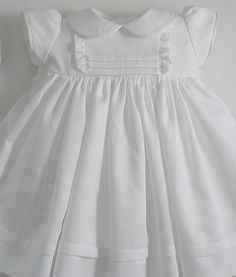 White Pique Cotton Dress and Bonnet by patriciasmithdesigns
