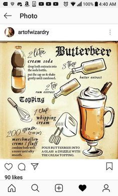Butterbeer - inspired by the Harry Potter book series .Butterbier - inspired by the Harry Potter book series Harry Potter Party Ideas Harry Potter Party Food, Harry Potter Motto Party, Harry Potter Cookbook, Harry Potter Marathon, Harry Potter Halloween, Harry Potter Theme, Harry Potter Diy, Harry Potter Recipes, Harry Potter Cocktails