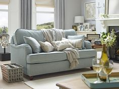 Tips That Help You Get The Best Leather Sofa Deal. Leather sofas and leather couch sets are available in a diversity of colors and styles. A leather couch is the ideal way to improve a space's design and th Duck Egg Blue Sofa, Duck Egg Blue Living Room, Benjamin Moore, 3 Seater Sofa Bed, Sofa Beds, Couches, Sofas, Cosy Sofa, Blue Lounge
