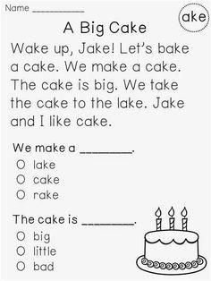 Comprehension Worksheets For Kindergarten Kindergarten 1st Grade Reading Worksheets, Phonics Reading, First Grade Reading, Kindergarten Reading, Reading Activities, Reading Skills, Teaching Reading, Kindergarten Worksheets, Free Reading
