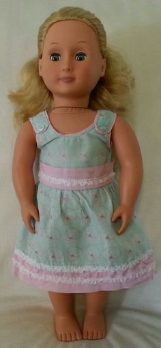 "BATTAT OUR GENERATION 18"" DOLL, BLONDE hair GREEN eyes, dressed in blue sundress #BattatOurGeneration #DollswithClothingAccessories"