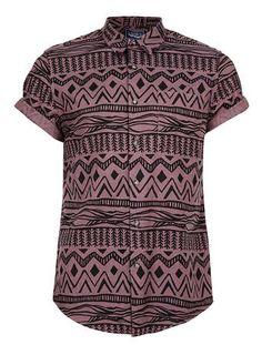 Burgundy Black Aztec Print Short Sleeve Shirt - Mens Shirts  - Clothing