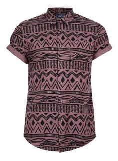 Burgundy Black Aztec Print Short Sleeve Shirt - Men's Shirts  - Clothing