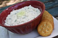 ½ Cucumber (peeled and cut into chunks)  3 Green Onions (trim Off Roots)  1 block (8 Oz.) Cream Cheese, Softened  1 teaspoon Worcestershire Sauce  ⅛ teaspoon Salt    Chopped fresh tomatoes for garnish, optional but delicious!    Finely chop the cucumber and green onions.  In a medium bowl, combine chopped veggies, softened cream cheese, Worcestershire sauce and salt.  Beat until smooth.  Cover and refrigerate overnight, it's WORTH the wait!  Serve on crackers.