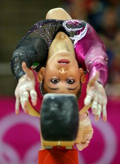 Mexican gymnast Elsa Garcia Rodriguez Blancas performs on the balance beam during the Artistic Gymnastics women's qualification.