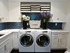 A laundry room should be able to do double duty - with all of this storage, you could store special occasion decor items that are only pulled out once or twice a year.