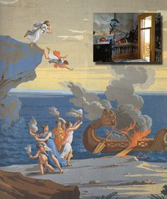 """Andrew Jackson's rural home, the Hermitage (inset), featured both downstairs and upstairs a hanging of the Telemachus paper by Dufour. ic wallpaper series entitled """"Paysage de Télémaque dans l'Ile de Calypso,"""" produced in Paris. Scenic Wallpaper, Antique Wallpaper, Grisaille, Villa Design, Chinoiserie, Tiny House, Paris, Antiques, Classic"""