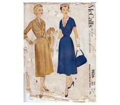 50s Dress Pattern Fitted Bodice Paneled Skirt by HoneymoonBus