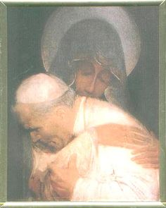 Mother Mary holding Pope John Paul II- this is the most beautiful painting I have ever seen.