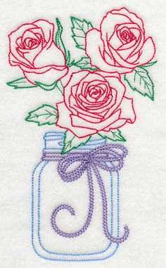 Blooming Roses in Mason Jar (Vintage)
