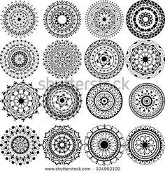 A Set Of Beautiful Mandalas And Lace Circles Banco de ilustração ...