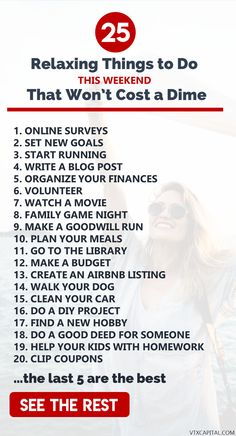 Do you need to start saving money and live a more frugal lifestyle? Check out this list of 25 productive and relaxing things to do on a no spend weekend! save money tips