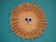 Lion craft using rotini pasta, paper plate, paint & brush, glue, black marker, google eyes