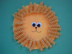 Lion craft using rotini pasta, paper plate, paint & brush, glue, black marker, google eyes