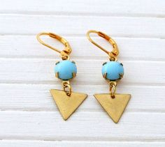 Blue and Gold Triangle Earrings  .. turquoise by beadishdelight