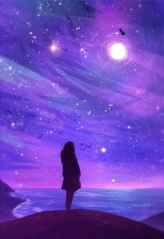 Supposed to Be a Wallpaper Anime Kunst, Anime Art, Galaxy Art, Anime Galaxy, Purple Aesthetic, Night Aesthetic, Pretty Art, Belle Photo, Cute Wallpapers