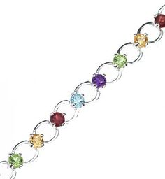 "Sterling Silver Multi Color Genuine Gemstone Link Bracelet 7"" The Royal Gift. $84.97. Sterling silver link bracelet; Multi colored genuine gemstones; Length:  7"""