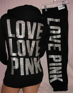 VS Pink Crystal Bling Hoodie sweat Pants