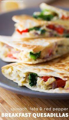 Spinach, Feta & Red Pepper Breakfast Quesadillas (Make Ahead, Freezer Freindly) /sweetpeasaffron/
