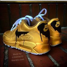buy for the big price drop on Cheap Mens And Womens Nike Air Max 90 Candy Drip Gold Black Sale, full size selection for mens and womems! Jordan Shoes Girls, Girls Shoes, Sneakers Fashion, Fashion Shoes, Fashion Outfits, Souliers Nike, Cute Sneakers, Sneakers Sale, Nike Shoes Air Force