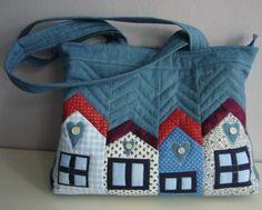 Džínová kabelka s domečky kabelka patchwork originál džínová jediná