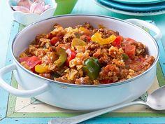 Paprika-Hack-Pfanne mit Reis Rezept | LECKER