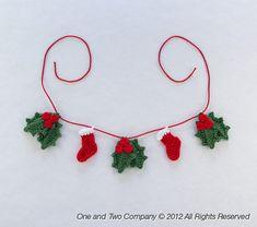 Lovely Christmas Garland - PDF Crochet Pattern - Instant Download - Home Decor Crochet Garland Christmas Ornament