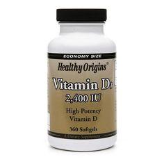 Healthy Origins Vitamin D3, 2400 IU, Softgels - 360 ea
