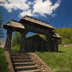 ~ An ornate entry gate specific to the Maramures area, Romania. by Adrian Petrisor Places To Travel, Places To See, Visit Romania, Entry Gates, Europe, Bucharest, Beautiful Places To Visit, Abandoned Places, Cool Pictures