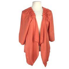 Winter Silks Women L Open Waterfall Sweater Relax Cotton Silk SS Pleated Orange Pleated Fabric, Orange Fabric, Knit Sweater Dress, Shorts With Pockets, Cotton Silk, Pullover Sweaters, Waterfall, Relax, Group