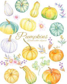 Watercolor Books, Watercolor Fruit, Pumpkin Art, Cute Pumpkin, Printable Leaves, Modern Wedding Invitations, Floral Bouquets, Art Market, New Art
